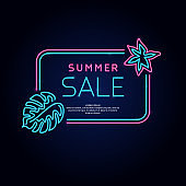 Original concept poster discount sale. Vector illustration of neon style suitable for advertising