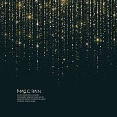 Bright vector illustration Magic rain of sparkling glittery particles lines