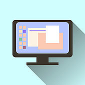 computer screen icon with long shadow isolated on orange background.