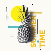 Fashionable modern poster with pineapple, Summer time. Tropical fruit on white background