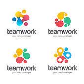 Vector abstract logo design. Teamwork, alliance icon