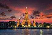 Wat arun with sunset in Bangkok city