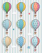 Set of balloons. Paper sticker.