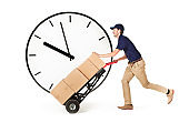 Delivery Man Delivering Packages Against Deadline Time Clock on White Background