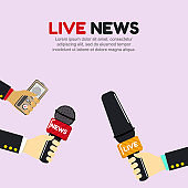 Vector illustration of hands holding microphones. Live news banner concept