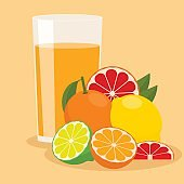 Glass of fruit juice of citrus: grapefruit and orange, lime and lemon. Vector