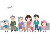 Illustration of family trip(passenger plane and buildings)