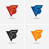 VS letters icon set in four different colors.