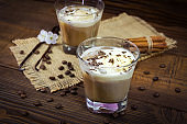 Two glasses of Ice coffe on wooden background