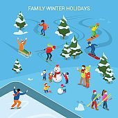 Flat Ski resort with snowy background, adult and children on sled, skiing, snowboard, skates, having fun making snowman vector illustration. Family Winter holidays, sports concept.