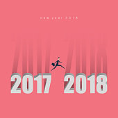 Minimalist style. man jump from 2017 to 2018.,Business concept idea