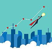 Minimalist style vector business finance concept. businessman with bulb. Problem,idea and success . Flat design.