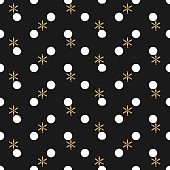 Glitter gold polka dot Christmas New Year seamless pattern with snowflakes. Paint brush circle black and white background. Golden snowflakes. Vector illustration. Hipster trendy wrapping gift paper