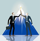 Two successful businessman holding the trophy in front of mountains. Winning, leading and success theme illustration. Business concept collection.