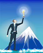 Successful businessman holding the trophy in front of mountains. Winning, leading and success theme illustration. Business concept collection.
