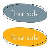 Final sale gray and yellow banner on white background.  Vector background with colorful design elements.