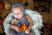 Cute newborn baby boy, sleeping with autumn leaves in a basket at home