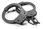 Black police handcuffs isolated on white background
