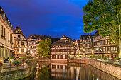 Strasbourg Half Timber House city skyline at night, Strasbourg, France