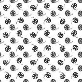 Cinema tape and film reel vintage seamless pattern, handdrawn sketch, retro movie and film industry, vector illustration