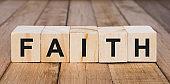 Faith Word on Wooden Blocks