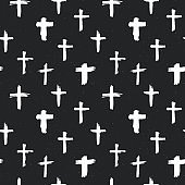 Cross symbols seamless pattern grunge hand drawn Christian crosses, religious signs icons, crucifix symbol vector illustration