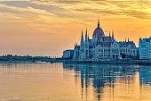 Budapest sunrise city skyline at Hungalian Parliament and Danube River, Budapest, Hungary