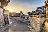 Seoul sunrise city skyline at Bukchon Hanok Village, Seoul, South Korea