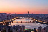 Han river and Seoul city