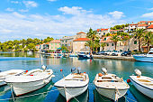 View of beautiful Splitska port with fishing boats on Brac island, Croatia