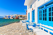 Typical Greek tavern in Little Venice, a part of Mykonos town on island of Mykonos, Greece