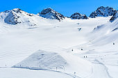 View of mountains in winter skiing resort of Pitztal, Austrian Alps