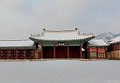 Snow Winter at  Gyeongbokgung Palace in Seoul,South Korea.