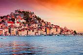 Sunset in old town of Sibenik, Croatia