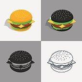 Set of burger icons