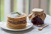 pancakes with jam breakfast