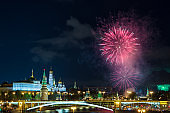 View of Kremlin with fireworks during blue hour in Moscow, Russia. 9 May Victory day celebration in Russia