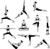 Yoga Workout. Silhouettes of a woman in Tree, headstand, Boat, Warrior one, two, three, downwards and upwards facing dog, lotus, headstand poses