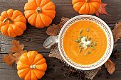 Pumpkin soup, overhead rustic autumn table scene