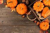 Autumn corner arrangement of leaves and pumpkins over wood