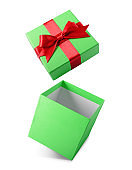 Classic green flying open gift box with red satin bow