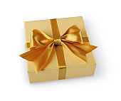 Golden classic shiny gift box with satin bow
