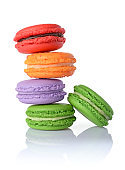 Sweet multicolored macaroons or macarons
