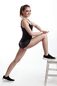 Girl doing stretching exercise