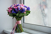 Wedding bouquet in pink and purple tones. Beautiful and delicate.General view