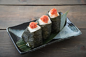japanese onigiri with tarako, cod roe