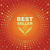 Best Seller emblem with circle shape and glowing lights abstract theme