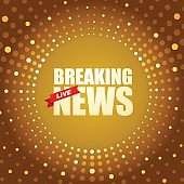 Live Breaking News headline in gold dotted colored background