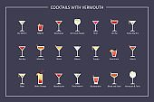 Cocktails with vermouth guide, flat icons on dark background. Horizontal orientation. Vector