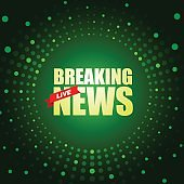 Live Breaking News headline in green dotted color background